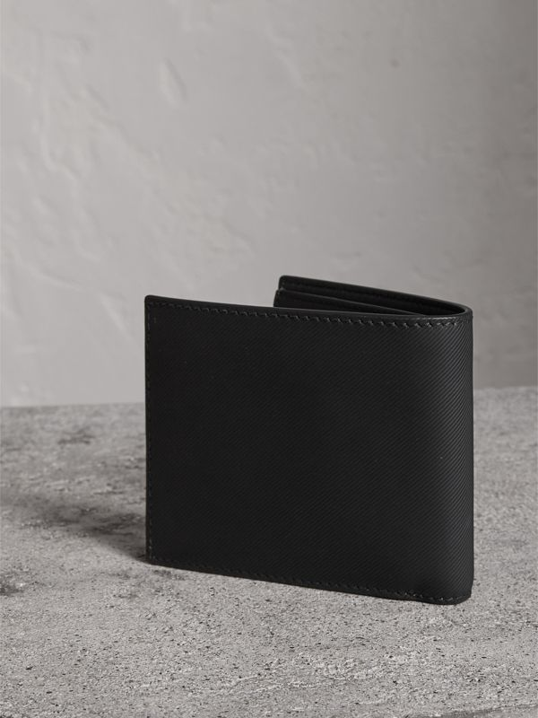 Trench Leather Bifold Wallet with Removable Card Case in Black - Men | Burberry - cell image 2