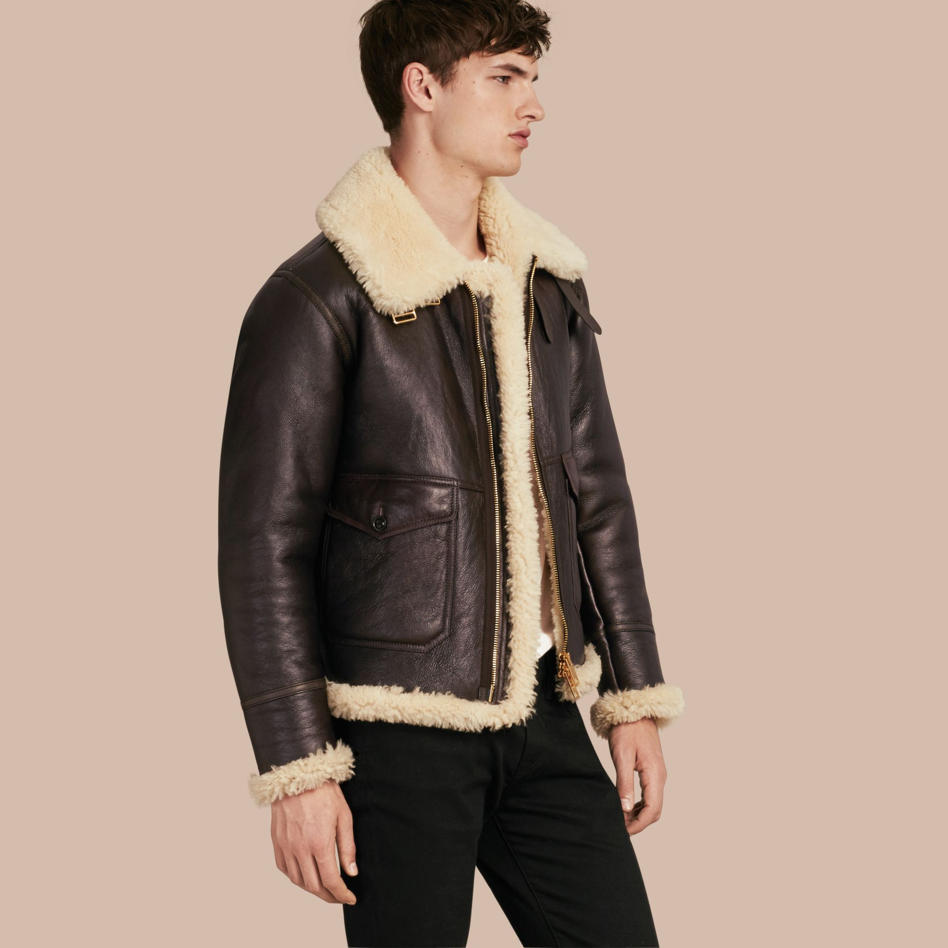 Dark cognac Shearling Aviator Jacket - gallery image 1