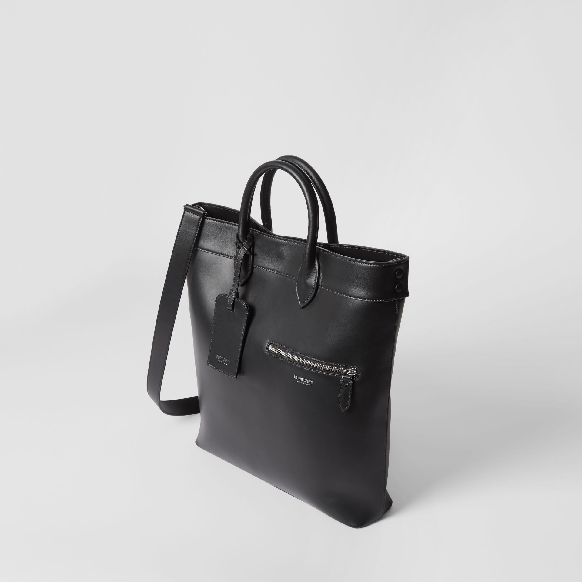Leather Tote in Black - Men | Burberry - gallery image 4