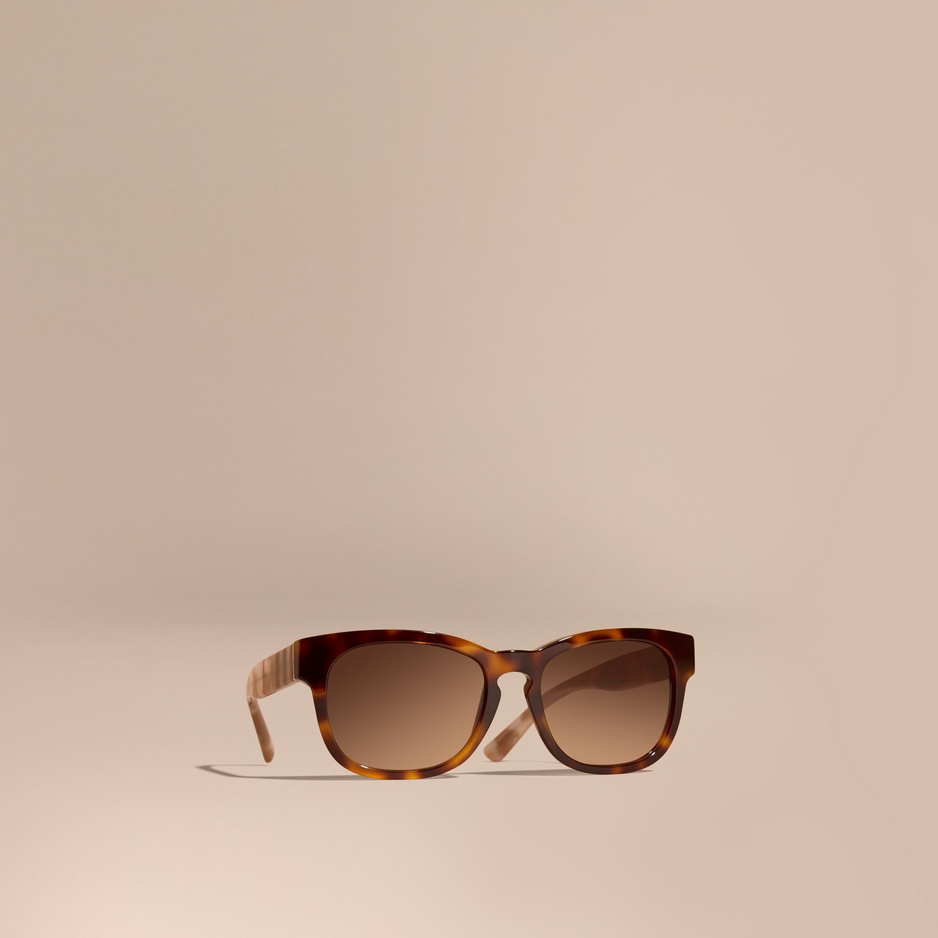Check and Camouflage Detail Square Frame Sunglasses Light Russet Brown - gallery image 1