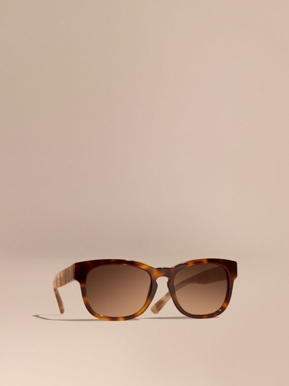 Check and Camouflage Detail Square Frame Sunglasses Light Russet Brown