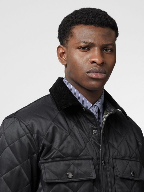 Diamond Quilted Thermoregulated Overshirt in Black - Men | Burberry Singapore - cell image 1