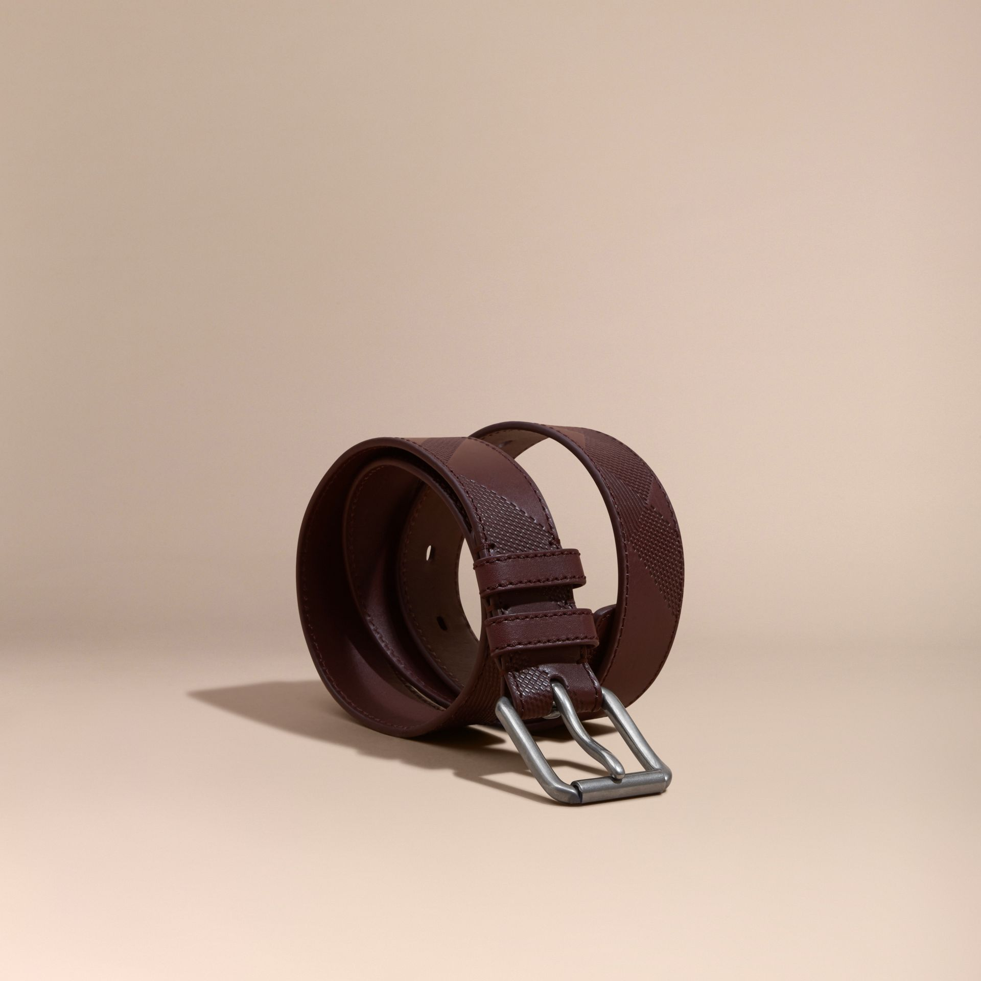Claret Check-Embossed Leather Belt Claret - gallery image 1