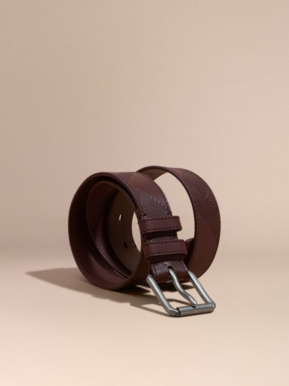 Check-Embossed Leather Belt Claret