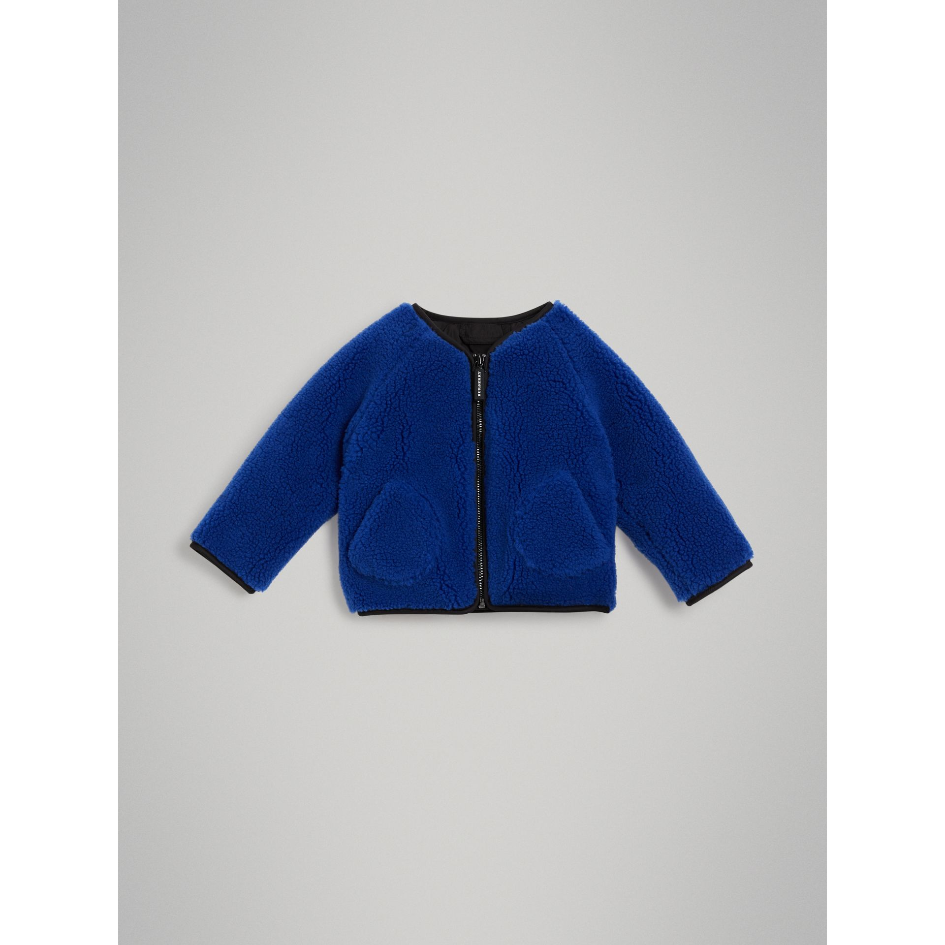 Faux Shearling Jacket in Cobalt Blue - Children | Burberry Australia - gallery image 0