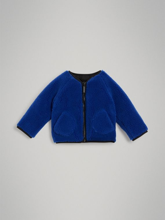 Faux Shearling Jacket in Cobalt Blue
