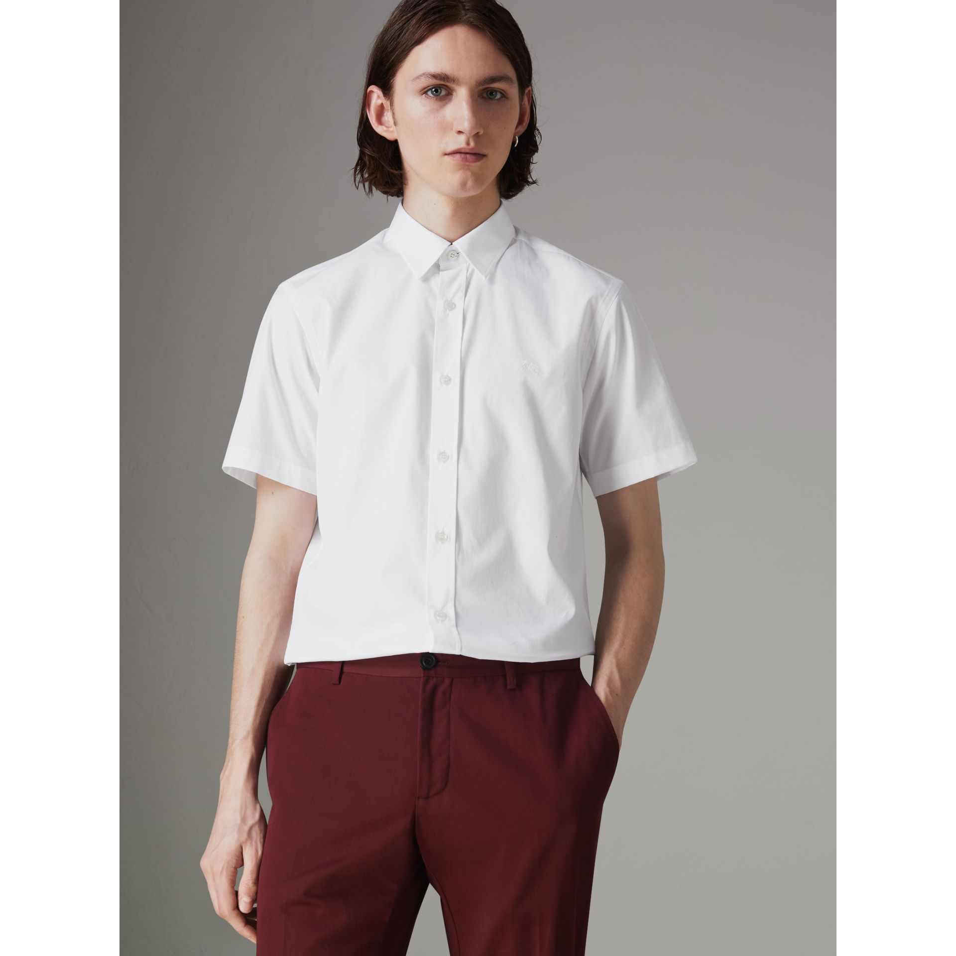 Short-sleeve Stretch Cotton Shirt in White - Men | Burberry Hong Kong - gallery image 0