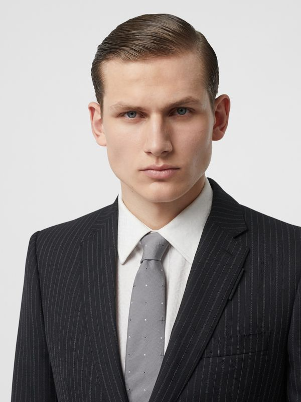 Classic Cut Graphic Silk Wool Jacquard Tie in Mid Grey - Men | Burberry United States - cell image 2