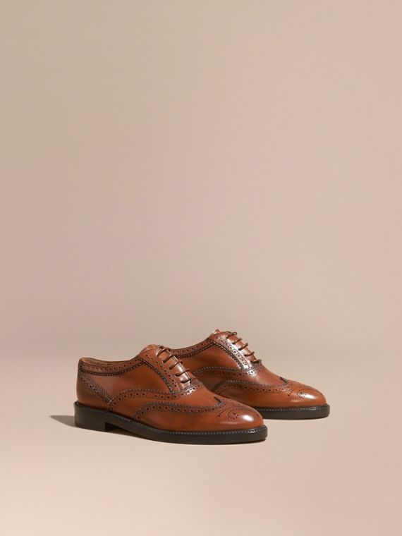 Leather Wingtip Brogues Bright Camel