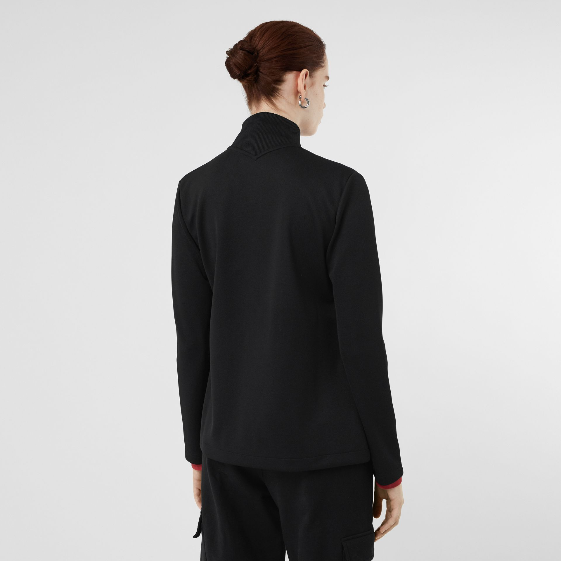 Crest Detail Funnel-neck Track Top in Black - Women | Burberry Australia - gallery image 2