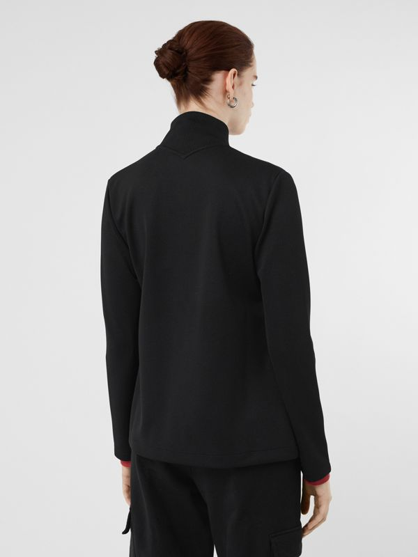 Crest Detail Funnel-neck Track Top in Black - Women | Burberry - cell image 2
