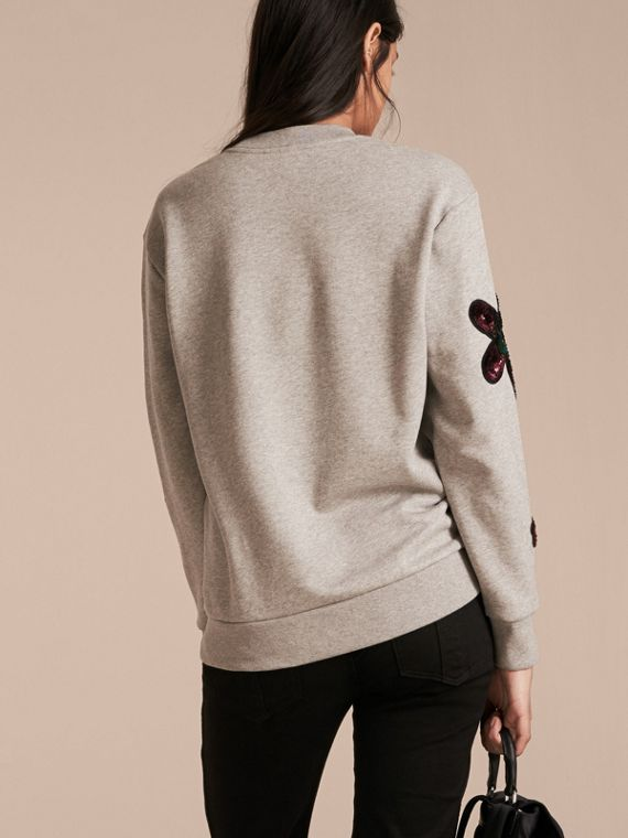 Pale grey melange Sequin Floral Appliqué Cotton Sweatshirt Pale Grey Melange - cell image 2