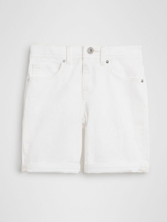 Relaxed Fit Stretch Denim Shorts in White