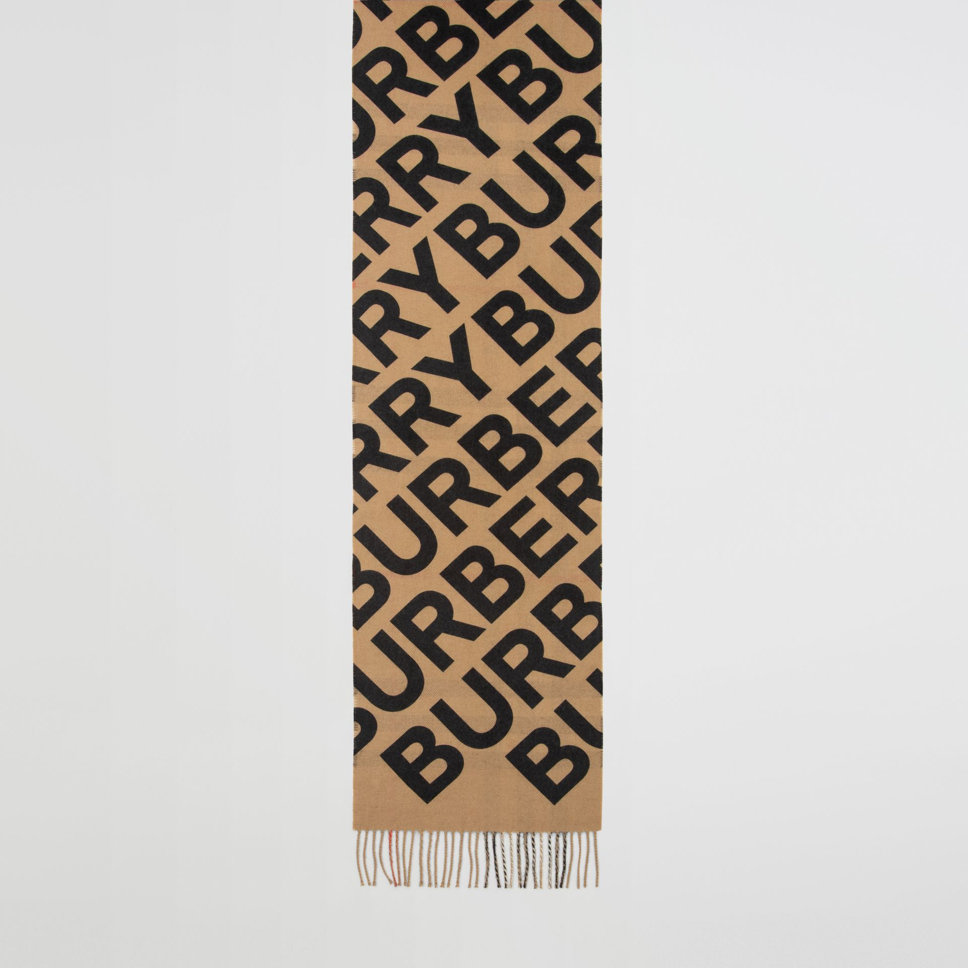 Logo Print Check Cashmere Scarf in Black | Burberry United States - gallery image 4