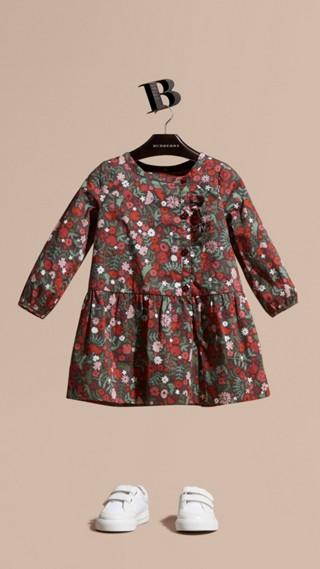 Robe en coton à imprimé floral avec volants