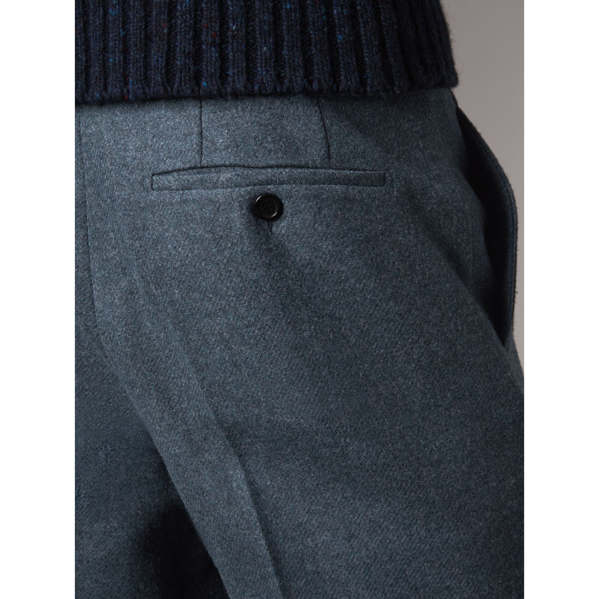 Soho Fit Wool Trousers in Dark Airforce Blue - Men | Burberry - gallery image 2