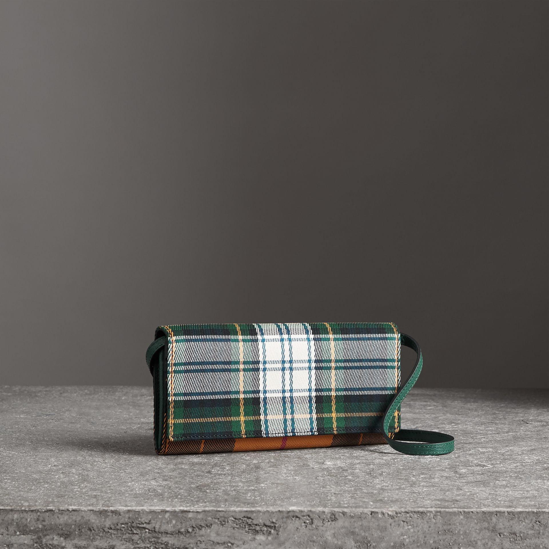 Tartan Cotton and Leather Wallet with Chain in Green/multicolour - Women | Burberry Australia - gallery image 0