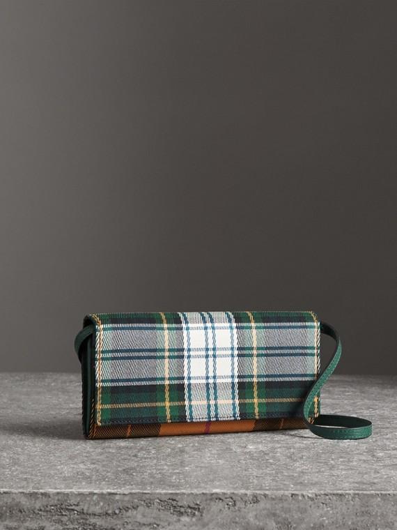 Cartera en algodón a cuadros escoceses y piel con asa de cadena (Verde / Colores Variados)