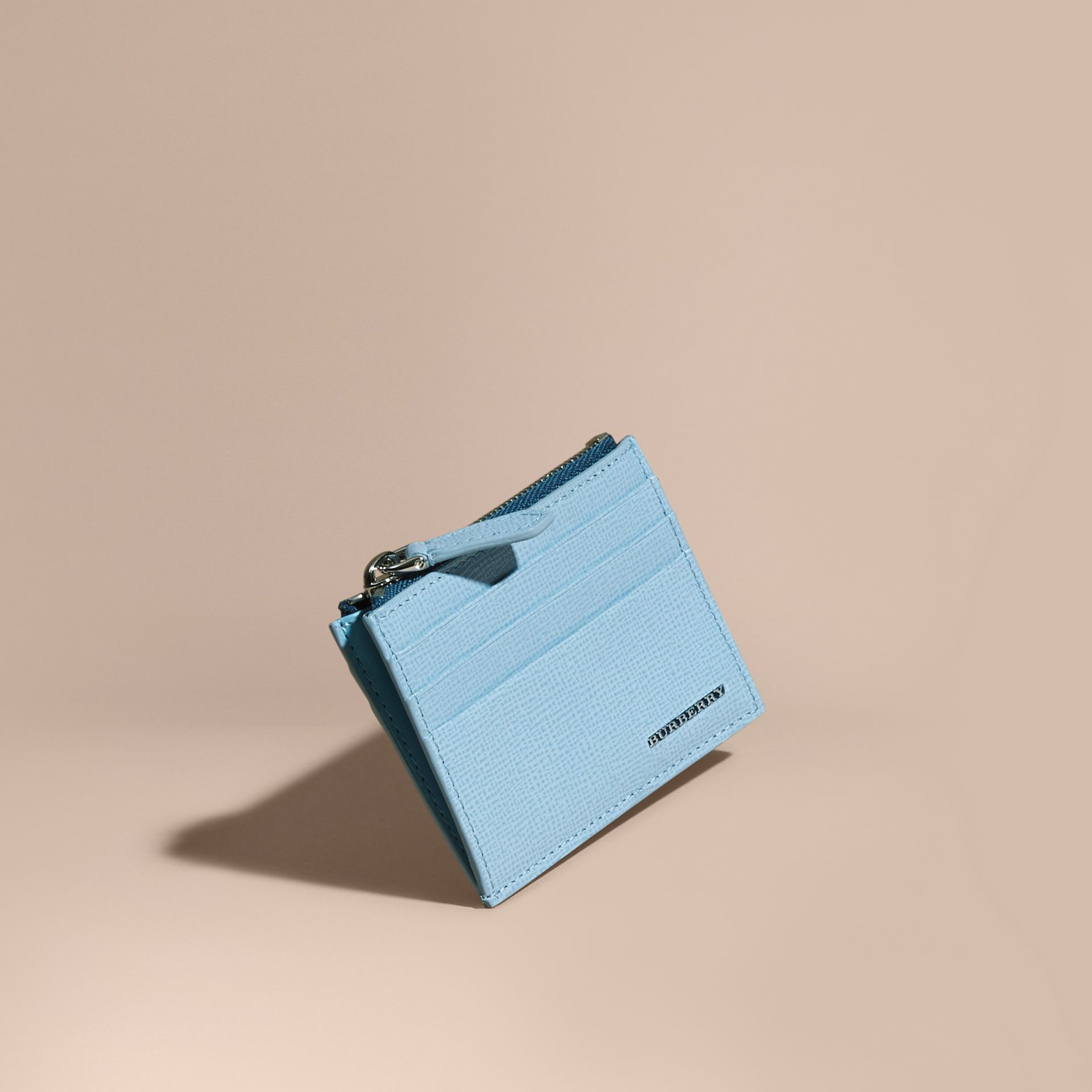 London Leather Zip-top Card Case Powder Blue - gallery image 1