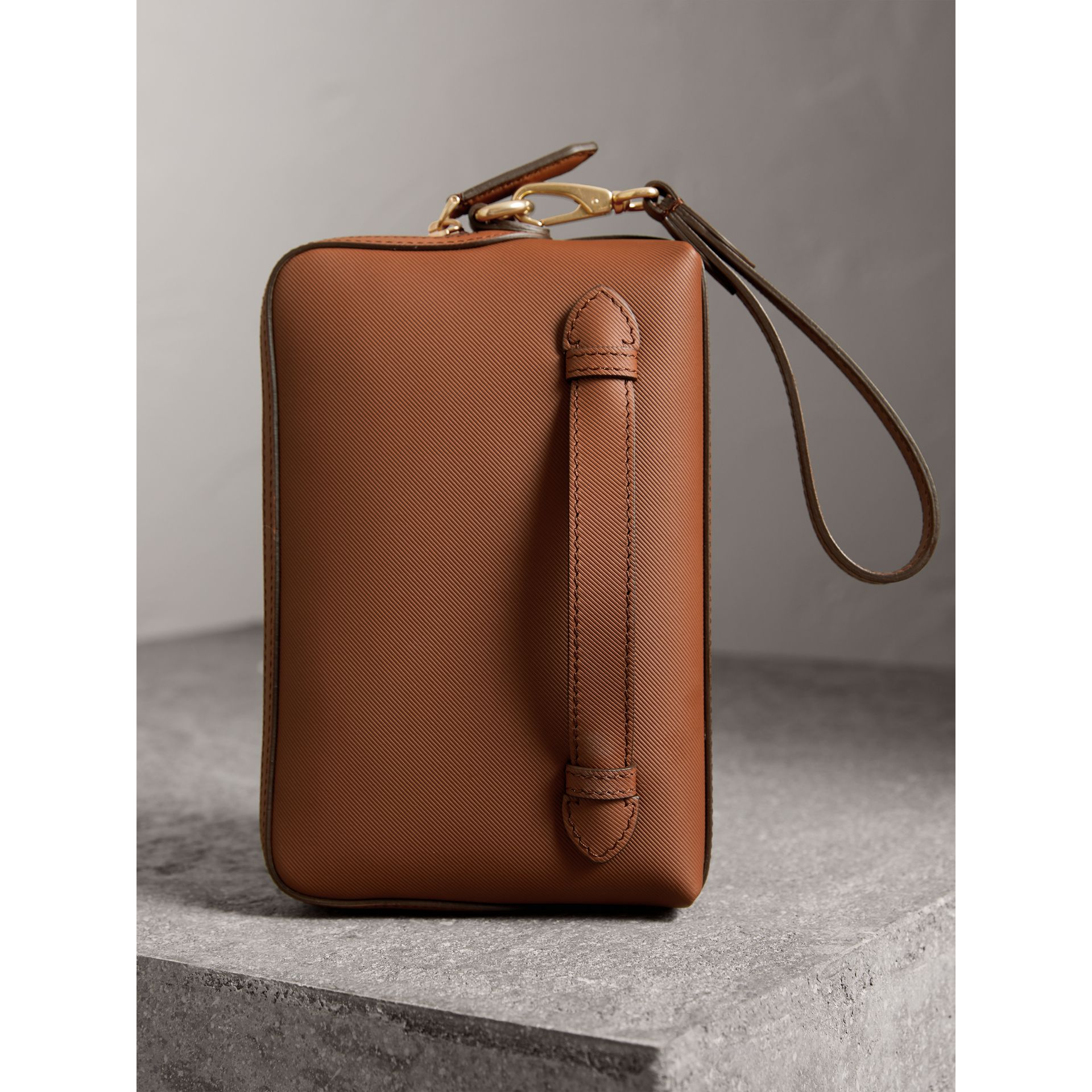 Trench Leather Pouch in Tan - Men | Burberry - gallery image 3