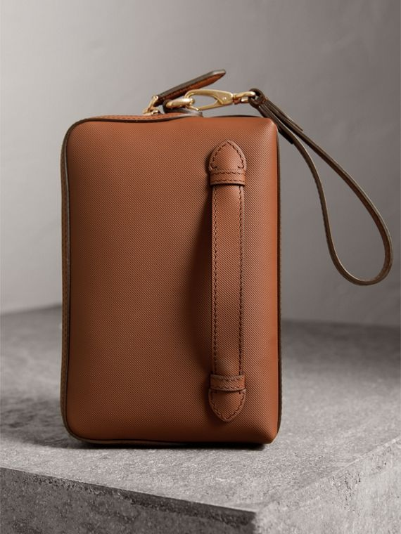 Trench Leather Pouch in Tan - Men | Burberry - cell image 3