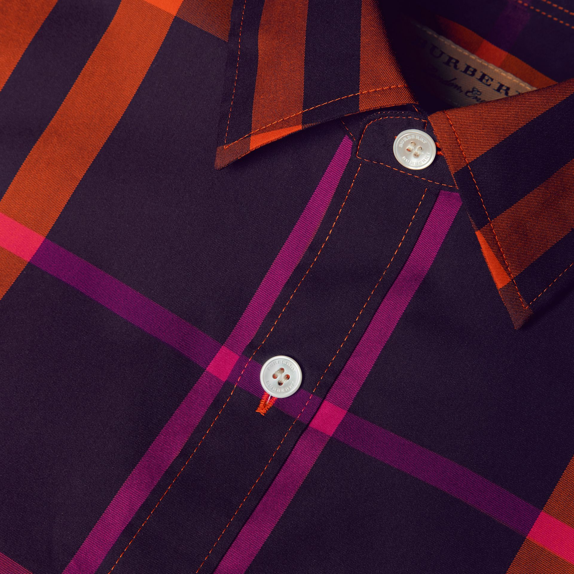 Clementine Check Stretch Cotton Shirt Clementine - gallery image 2