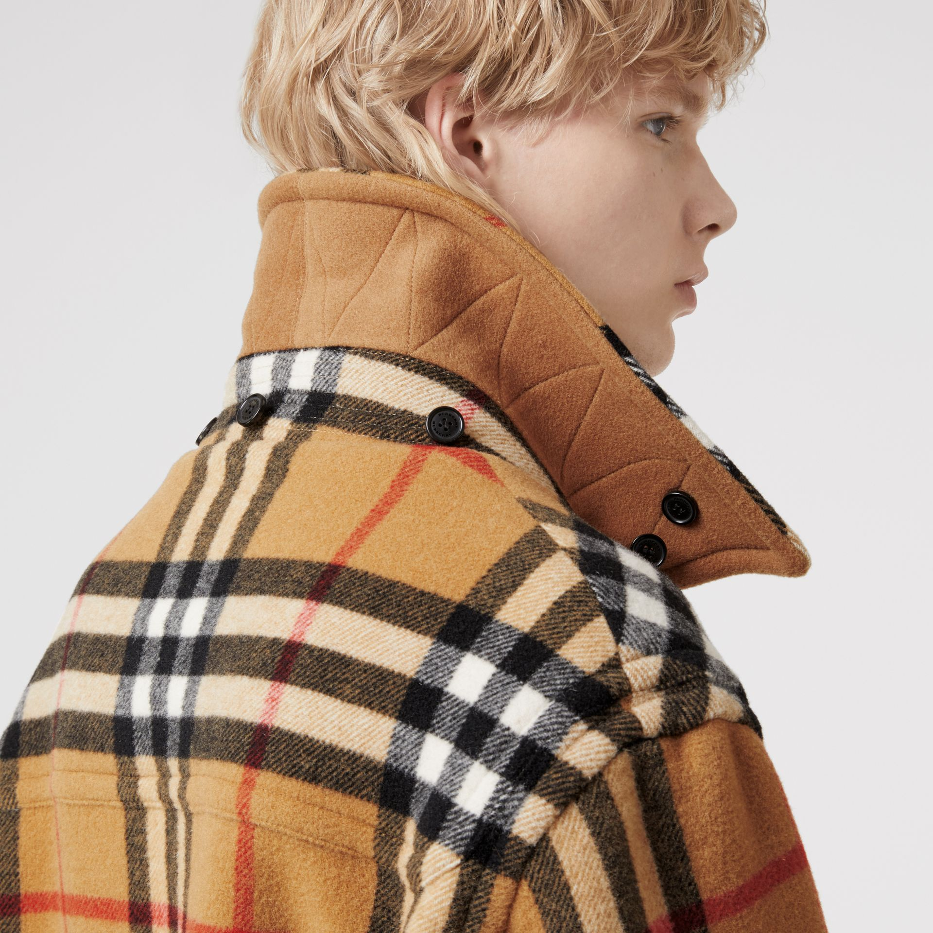 Gosha x Burberry Check Oversized Duffle Coat in Antique Yellow | Burberry Canada - gallery image 4