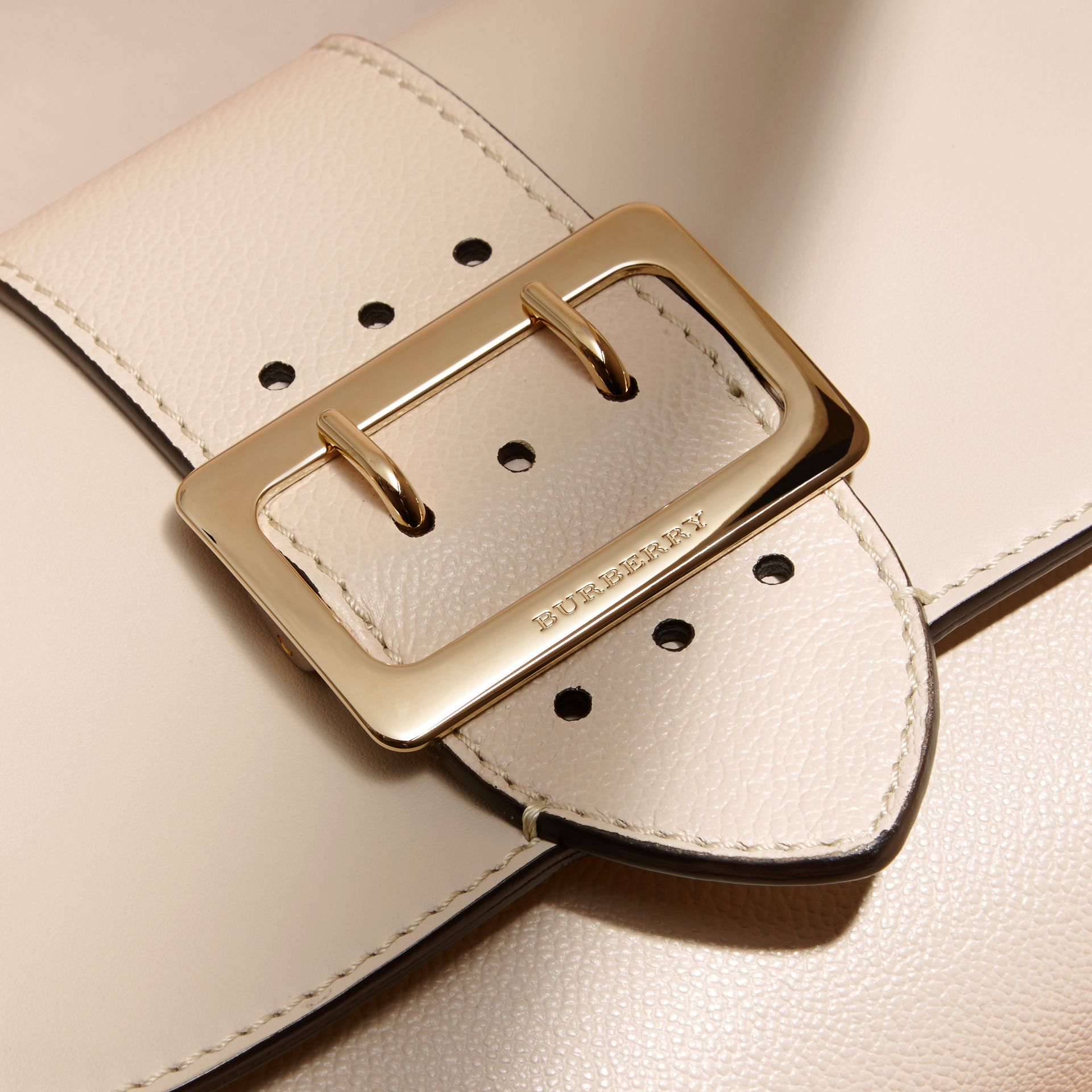 The Buckle Crossbody Bag in Leather in Limestone - gallery image 2