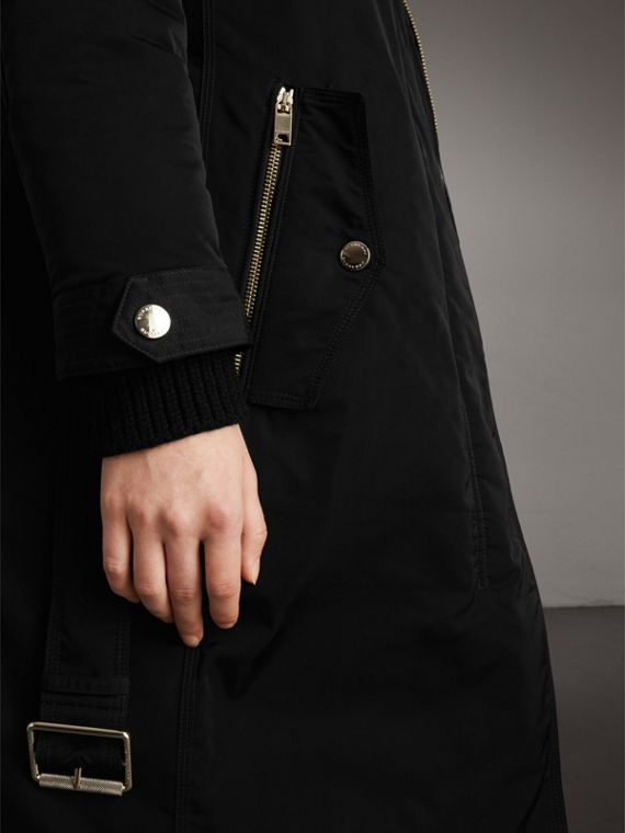 Down-filled Parka Coat with Detachable Fur Trim in Black - Women | Burberry - cell image 3