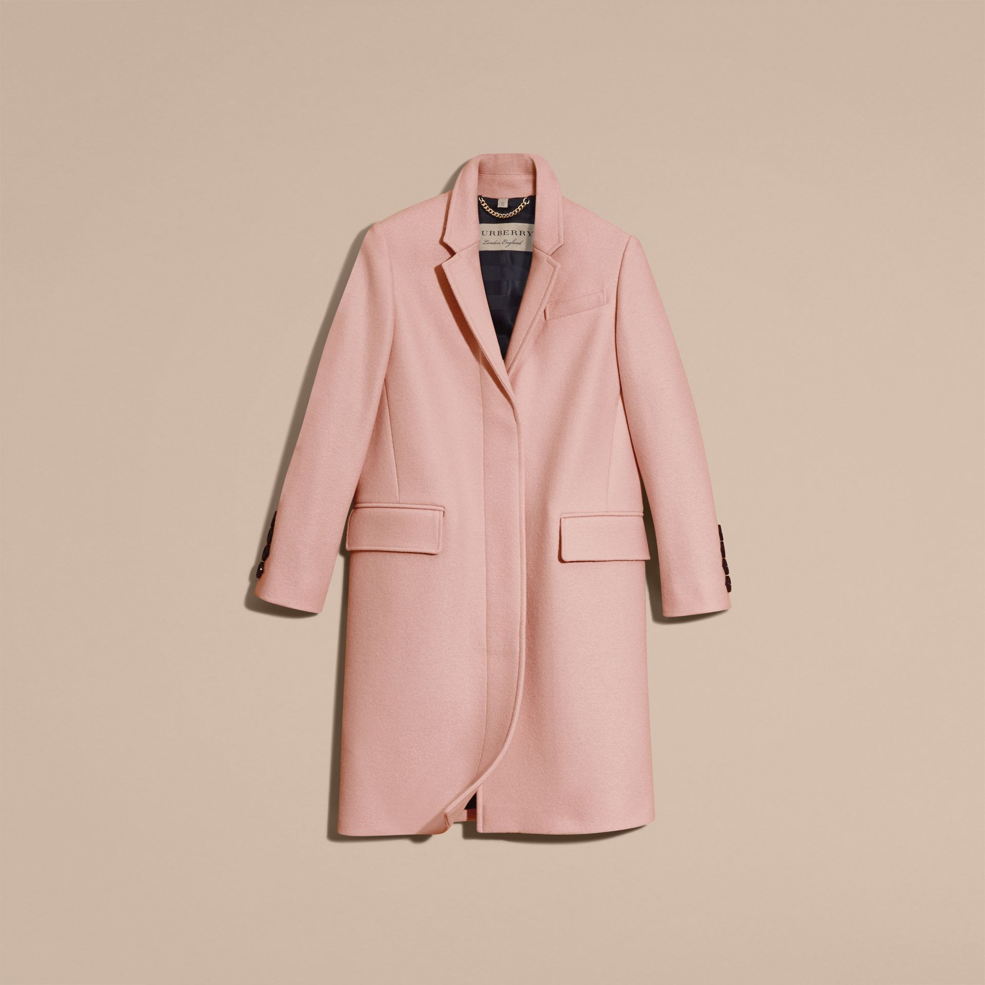 Chalk pink Boiled Wool Tailored Coat - gallery image 4