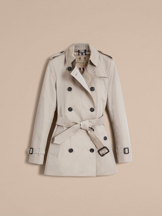 The Kensington – Short Heritage Trench Coat in Stone - Women | Burberry - cell image 3
