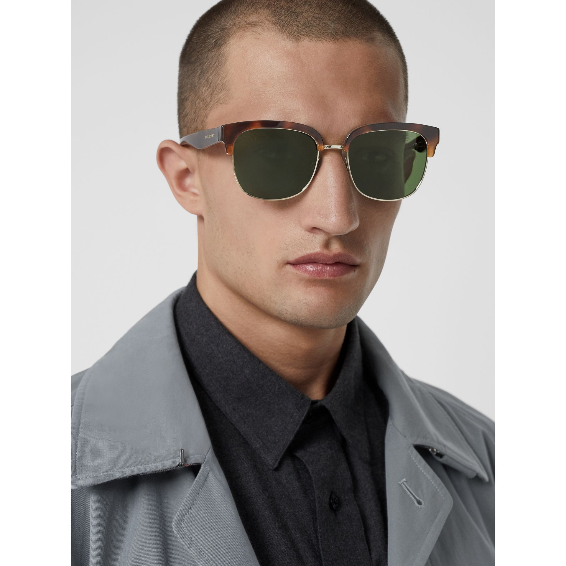 D-frame Sunglasses in Tortoise Shell - Men | Burberry United Kingdom - gallery image 3