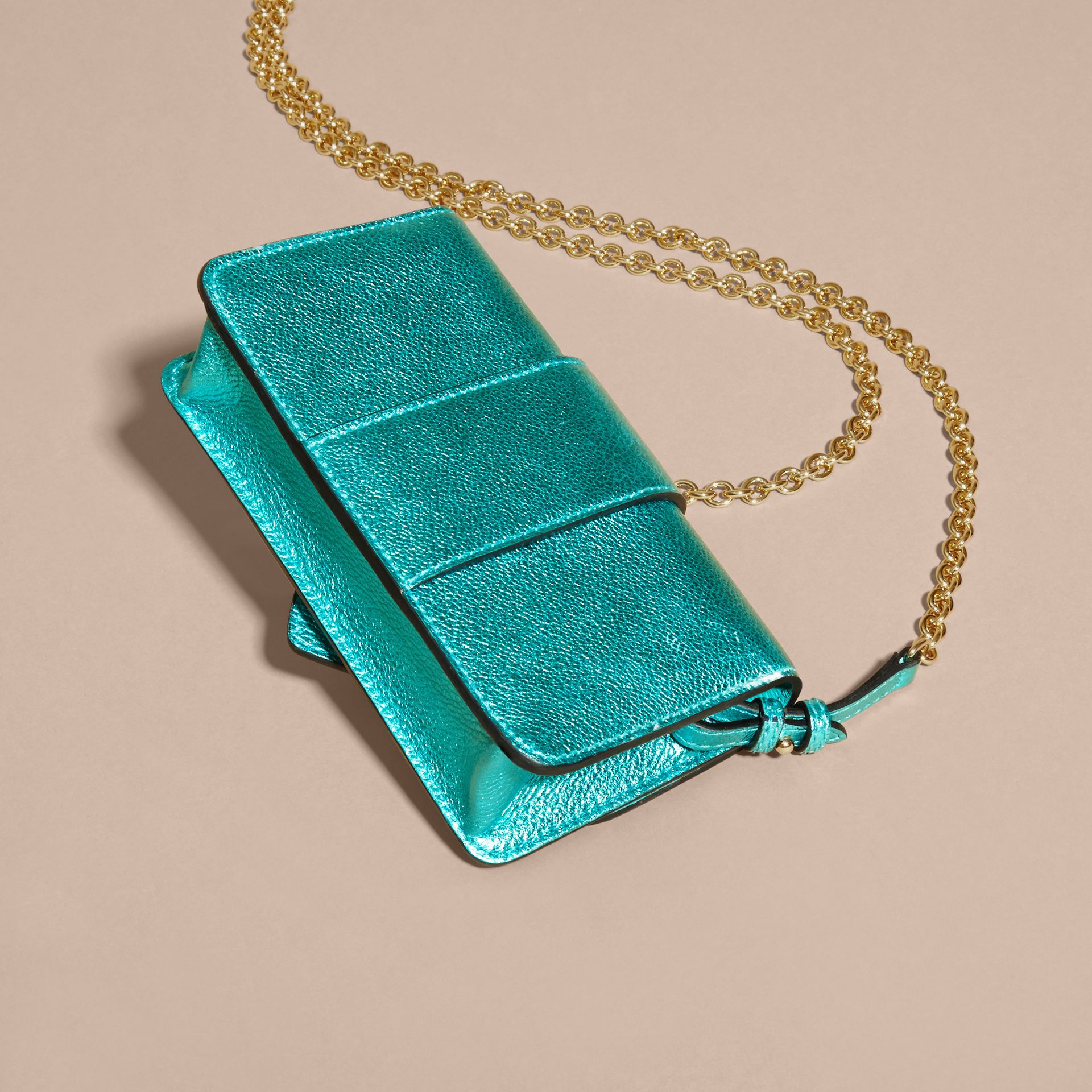 Emerald The Mini Buckle Bag in Metallic Grainy Leather Emerald - gallery image 5