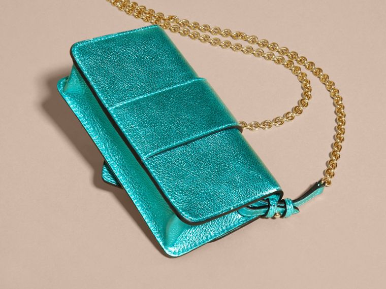 Emerald The Mini Buckle Bag in Metallic Grainy Leather Emerald - cell image 4