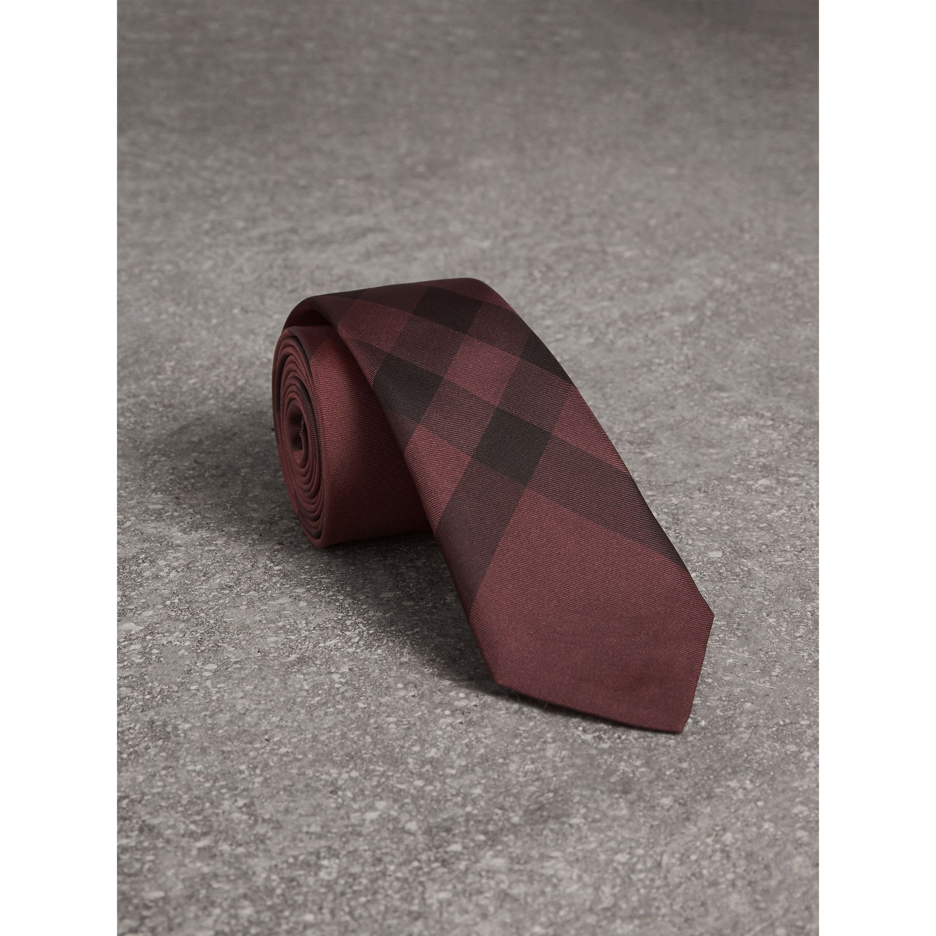 Slim Cut Check Silk Tie in Plum Pink - Men | Burberry - gallery image 0