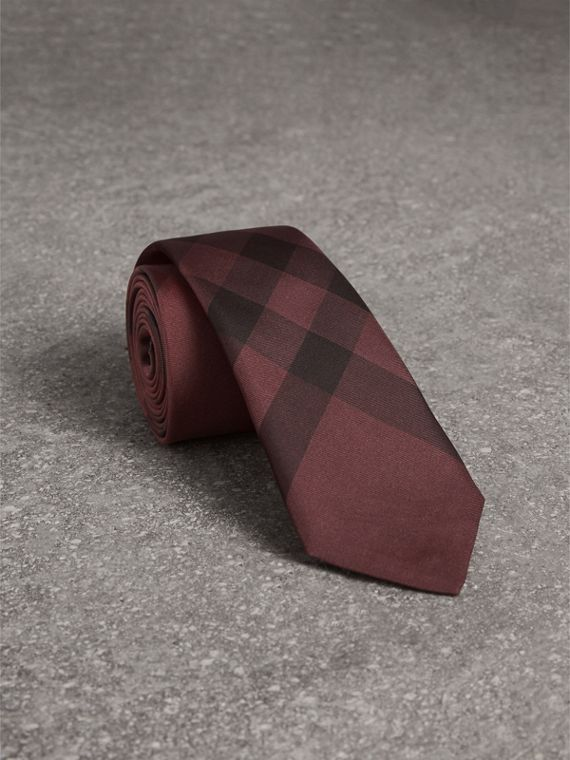 Slim Cut Check Silk Tie in Plum Pink