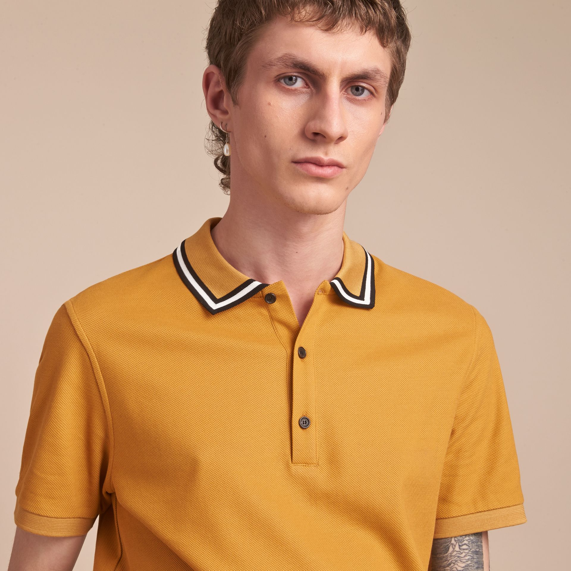 Striped Collar Cotton Piqué Polo Shirt in Saffron Yellow - Men | Burberry Canada - gallery image 5