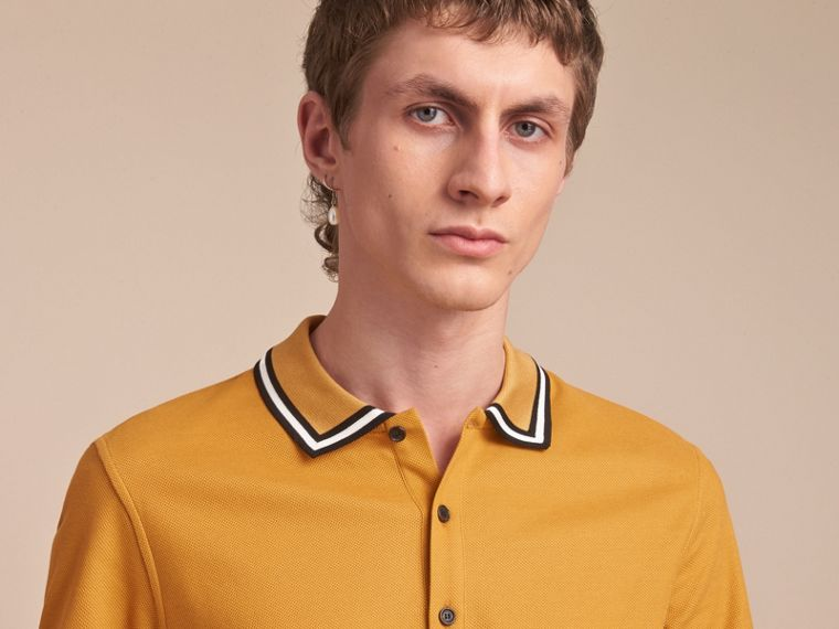 Striped Collar Cotton Piqué Polo Shirt in Saffron Yellow - Men | Burberry Canada - cell image 4