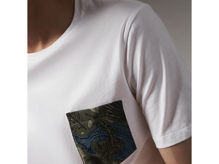 Beasts Jacquard Pocket Detail Cotton T-shirt in White - Men | Burberry - cell image 1