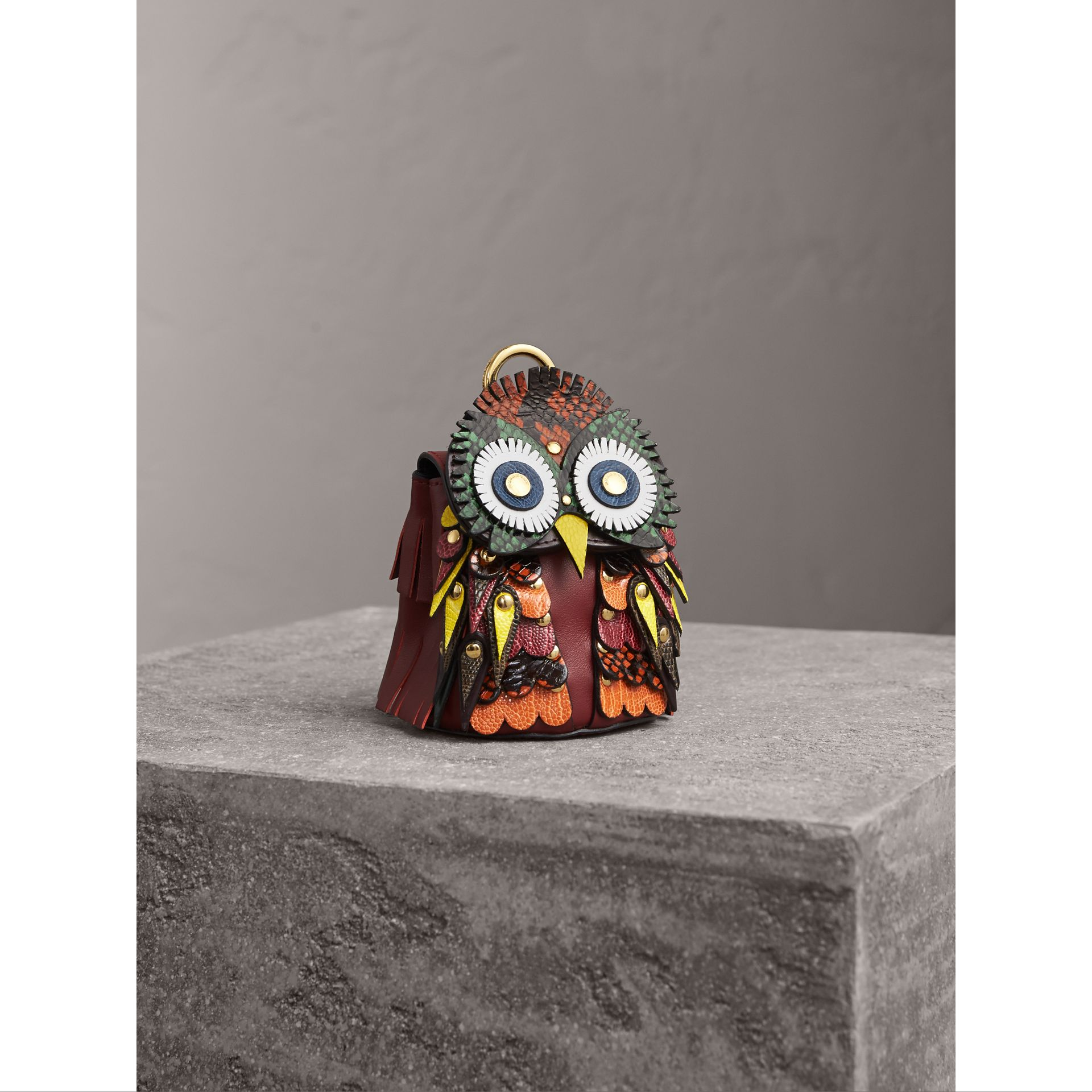 The Owl – Leather and Snakeskin Coin Case in Wine - Women | Burberry - gallery image 0