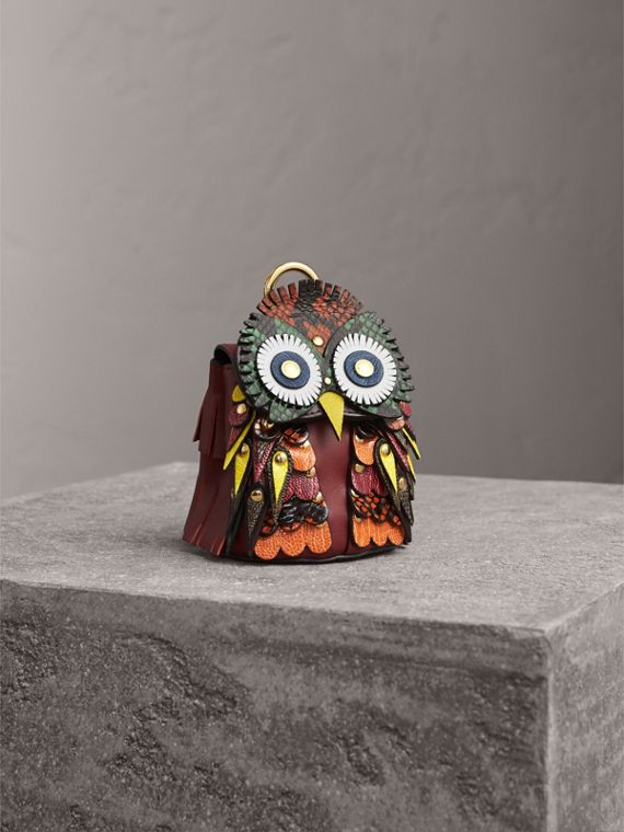 The Owl – Leather and Snakeskin Coin Case in Wine