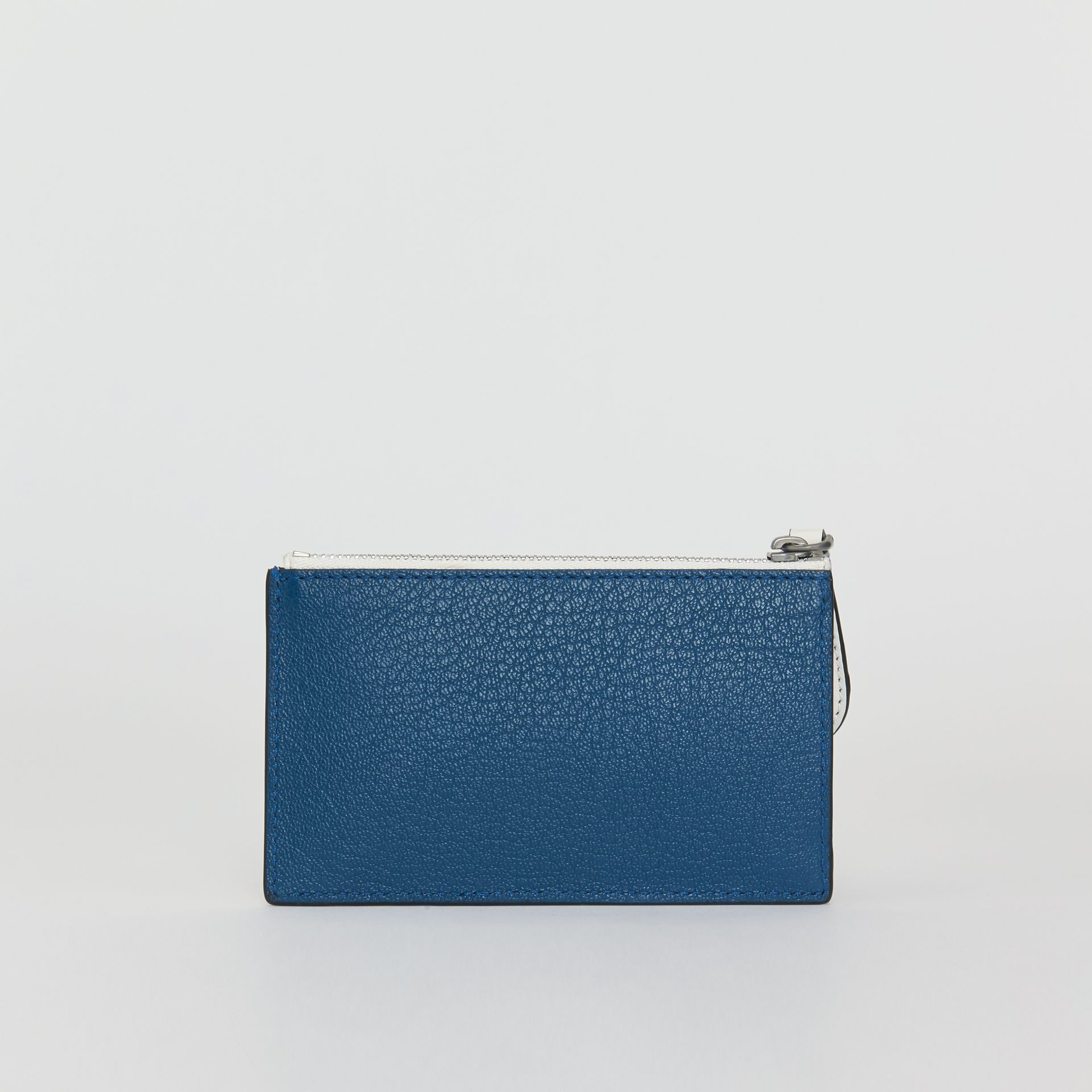 Two-tone Leather Zip Card Case in Peacock Blue | Burberry - gallery image 2