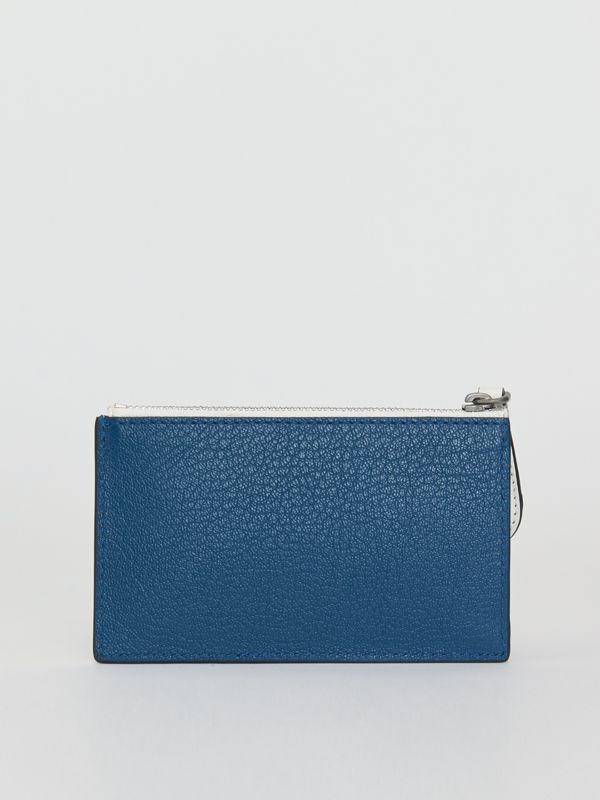 Two-tone Leather Zip Card Case in Peacock Blue | Burberry - cell image 2