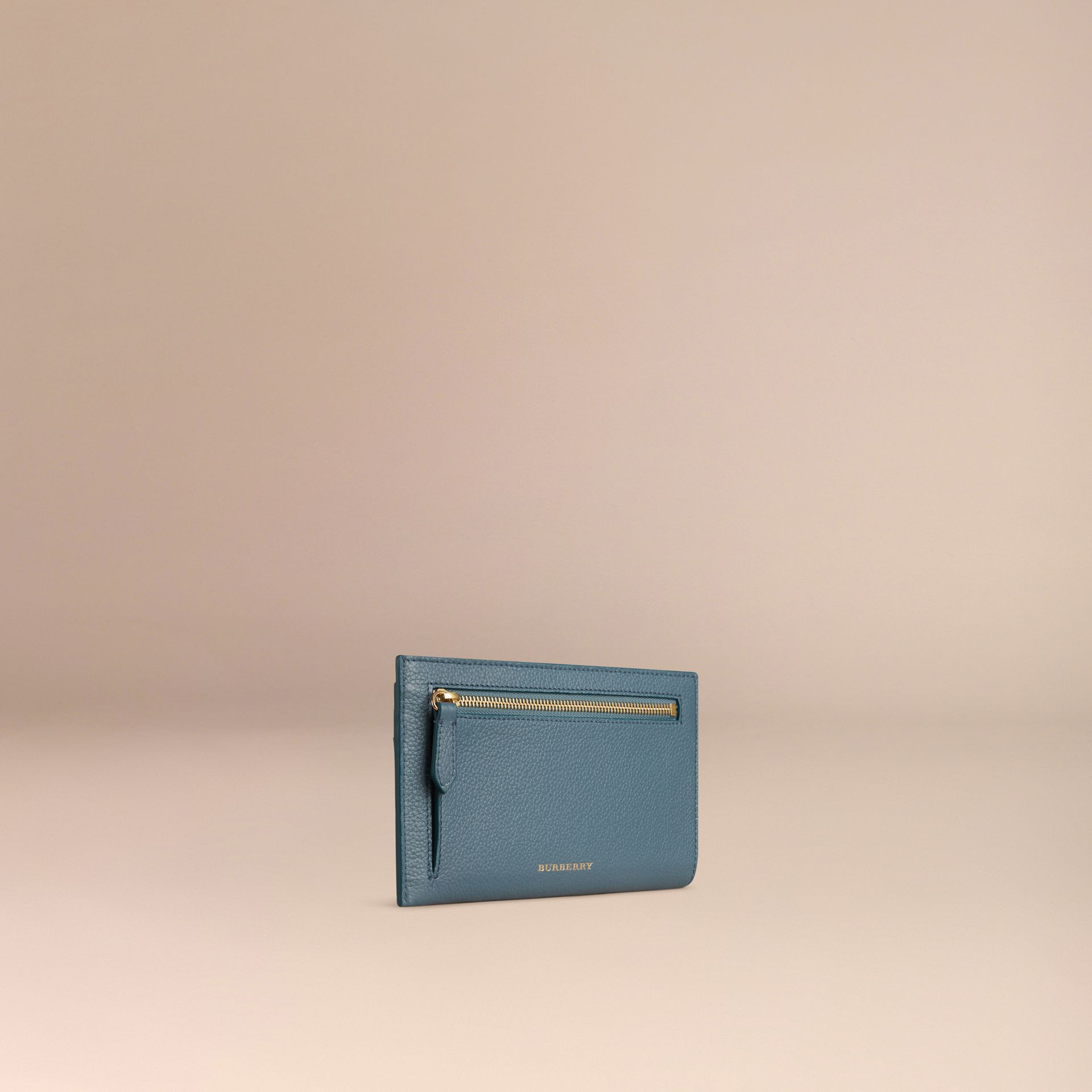 Grainy Leather Travel Case in Dusty Teal | Burberry - gallery image 3