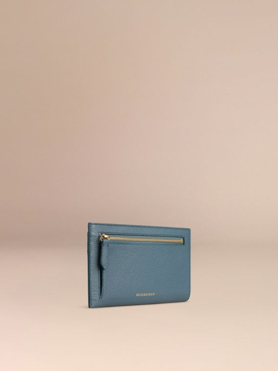 Grainy Leather Travel Case in Dusty Teal | Burberry Australia - cell image 2