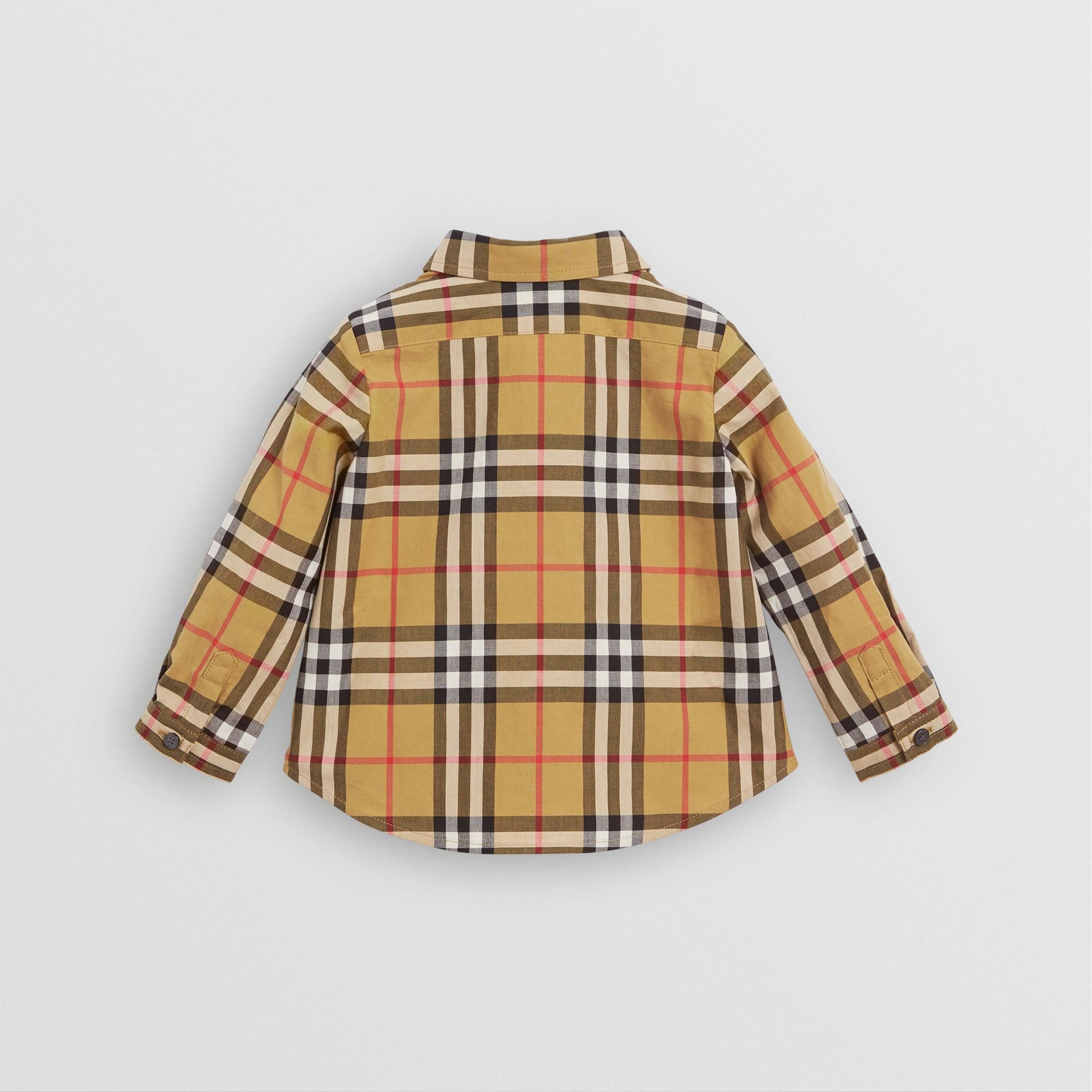 Button-down Collar Vintage Check Cotton Shirt in Antique Yellow - Children | Burberry Canada - gallery image 3