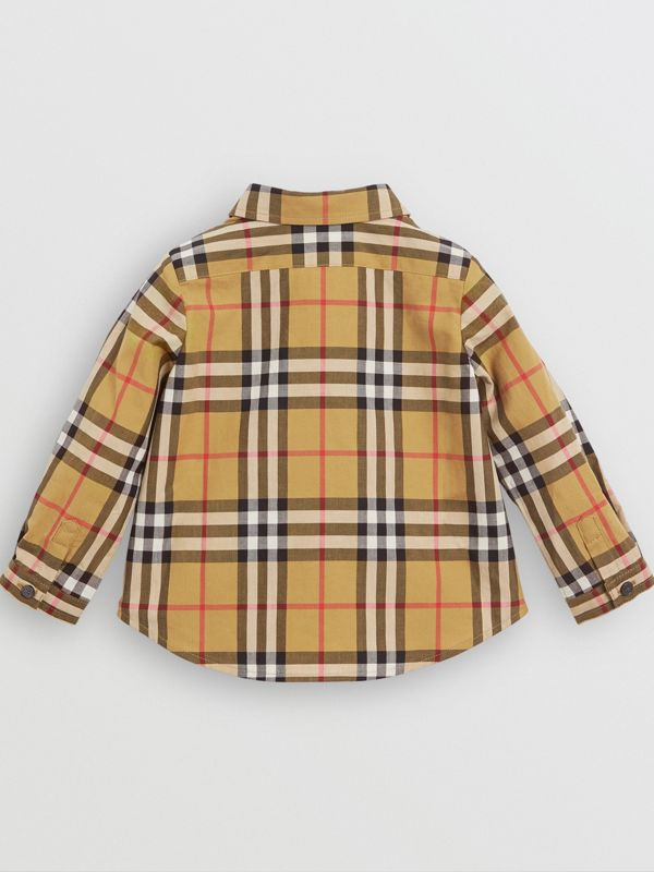 Button-down Collar Vintage Check Cotton Shirt in Antique Yellow - Children | Burberry Canada - cell image 3