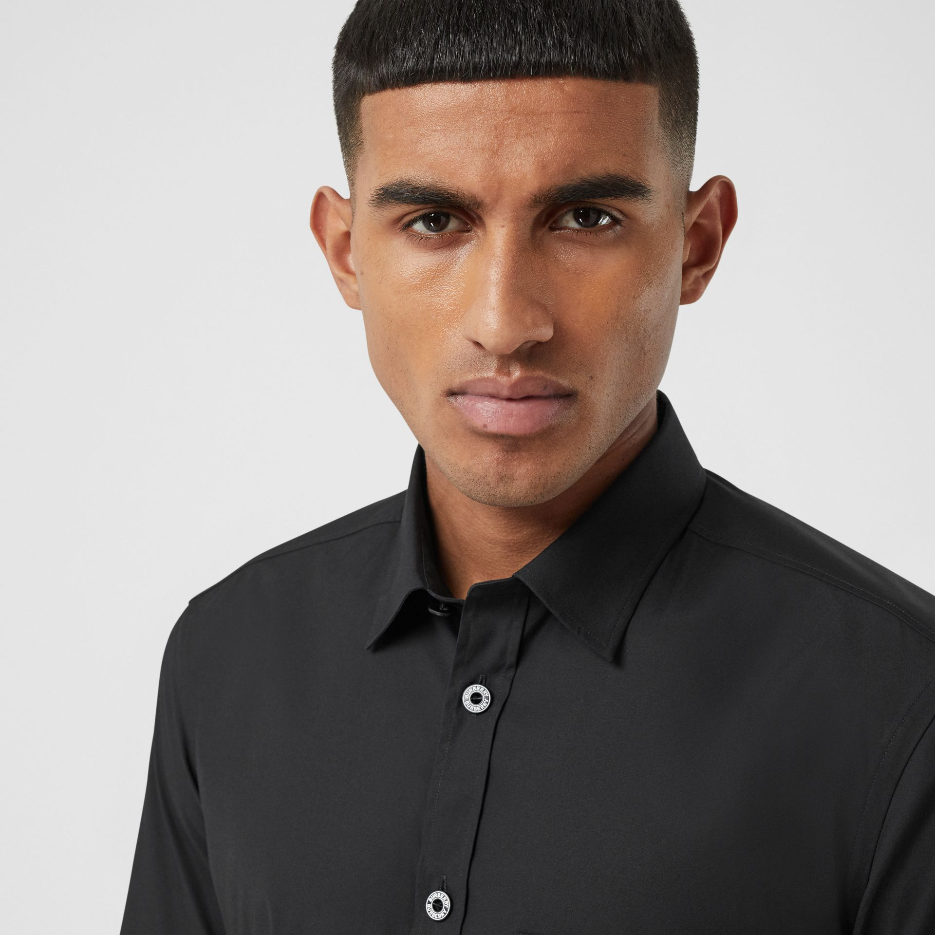 Short-sleeve Slim Fit Stretch Cotton Poplin Shirt in Black - Men | Burberry - gallery image 1