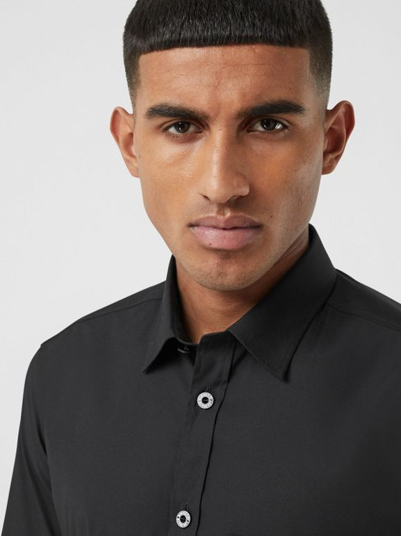 Short-sleeve Slim Fit Stretch Cotton Poplin Shirt in Black - Men | Burberry - cell image 1