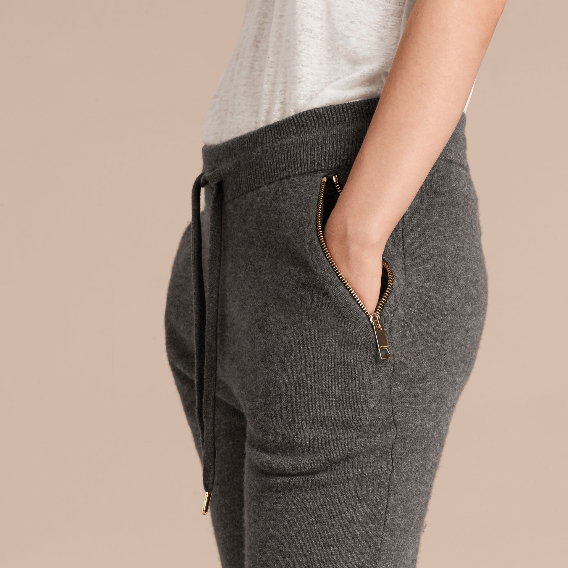Dark grey melange Knitted Cashmere Cotton Joggers - gallery image 6